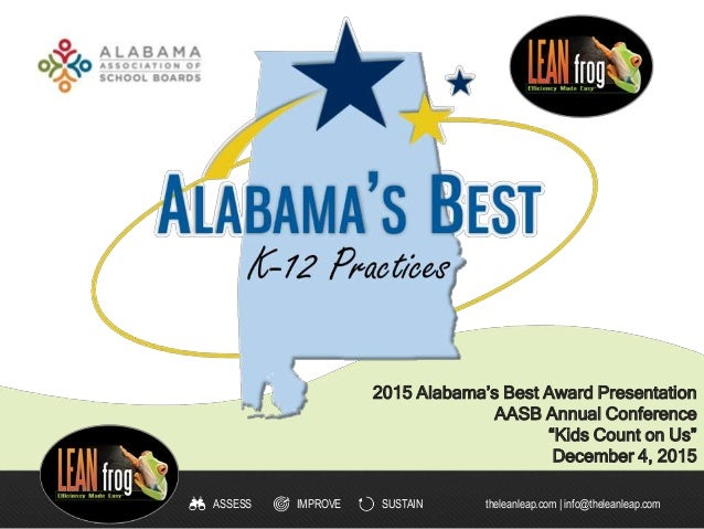 IMPROVE SUSTAINASSESS theleanleap.com | info@theleanleap.com 2015 Alabama's Best Award Presentation AASB Annual Conference...