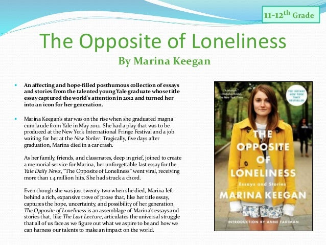 faculty sponsored read 17 the opposite of loneliness