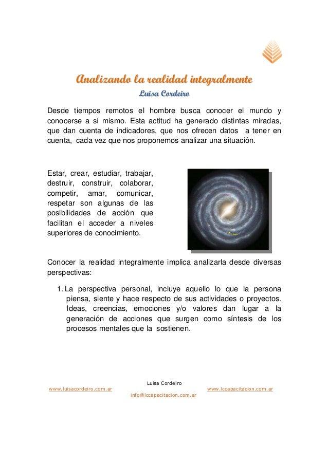 Luisa Cordeiro www.luisacordeiro.com.ar www.lccapacitacion.com.ar info@lccapacitacion.com.ar AAnnaalliizzaannddoo llaa rre...