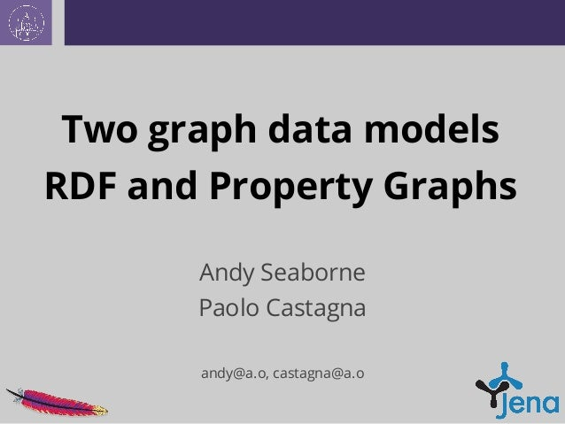 Two graph data models RDF and Property Graphs Andy Seaborne Paolo Castagna andy@a.o, castagna@a.o