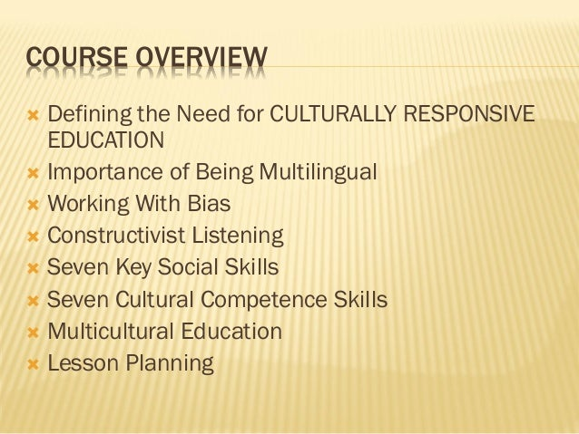 defining 'multicultural education' and the need The special rapporteur stressed in that regard the need for  the ministry of education launched the multicultural  phrase multiculturalization.
