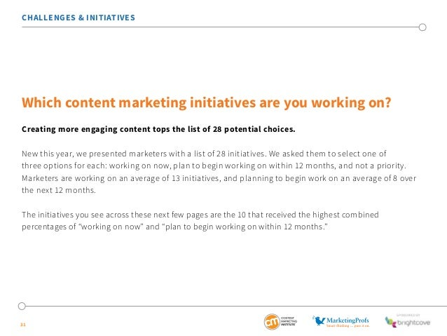 New this year, we presented marketers with a list of 28 initiatives. We asked them to select one of  three options for eac...