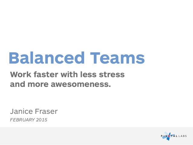 Work faster with less stress  and more awesomeness. Balanced Teams Janice Fraser FEBRUARY 2015