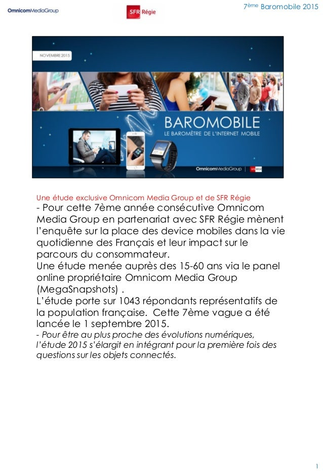Une étude exclusive Omnicom Media Group et de SFR Régie - Pour cette 7ème année consécutive Omnicom Media Group en partena...