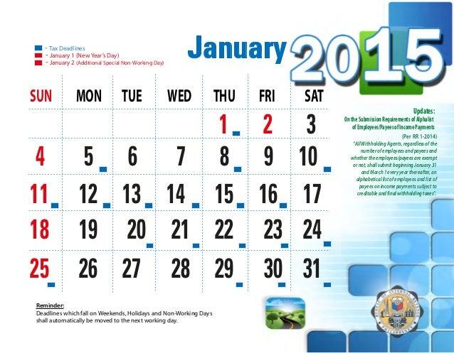 2015 bir tax calendar sciox Images