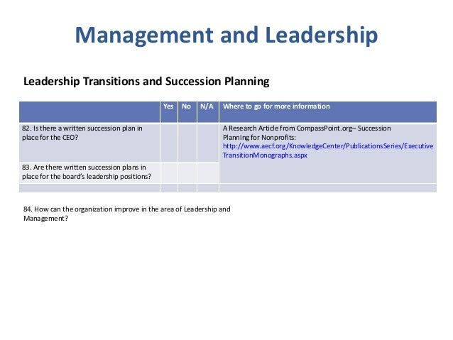 Board Governance Nonprofit Best Practice Checklist - Board succession planning template
