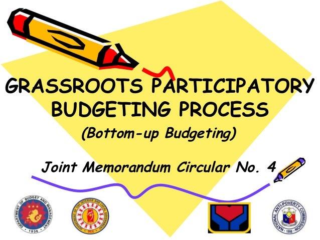 GRASSROOTS PARTICIPATORY BUDGETING PROCESS (Bottom-up Budgeting)  Joint Memorandum Circular No. 4