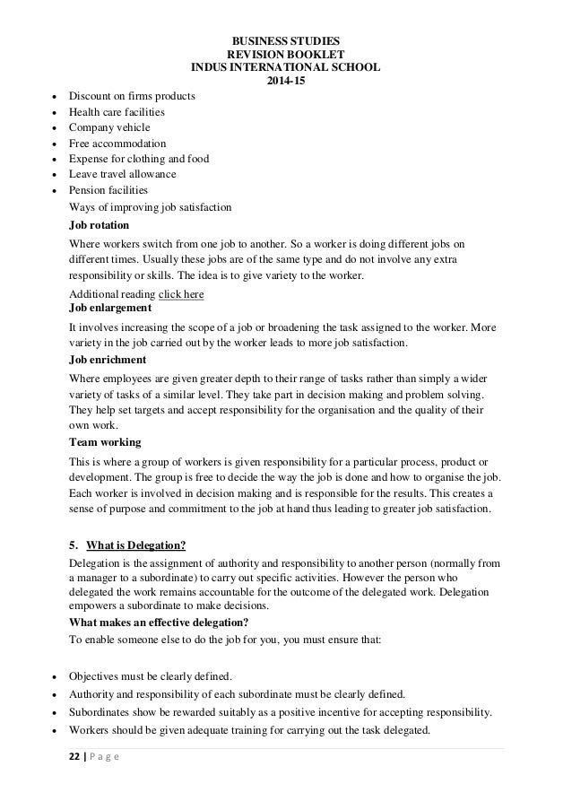 Business Studies A Level Notes / Business Enterprise Skills