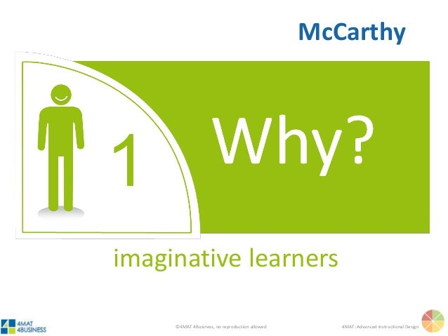 ©4MAT 4Business, no reproduction allowed 4MAT: Advanced Instructional Design imaginative learners McCarthy
