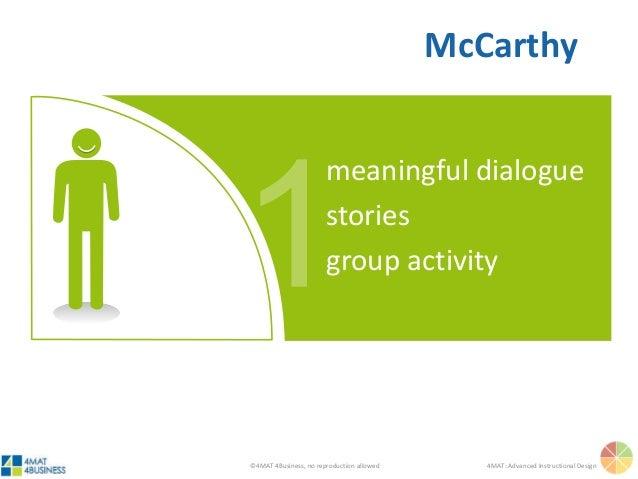 ©4MAT 4Business, no reproduction allowed 4MAT: Advanced Instructional Design meaningful dialogue stories group activity Mc...