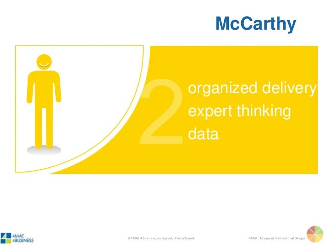 ©4MAT 4Business, no reproduction allowed 4MAT: Advanced Instructional Design organized delivery expert thinking data McCar...