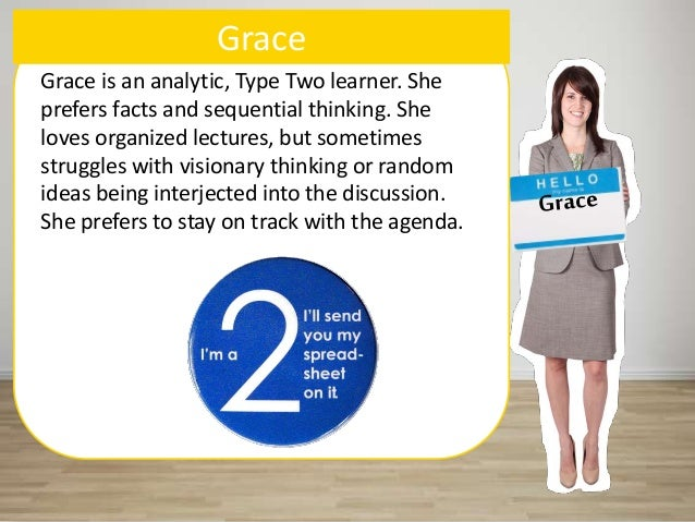 Grace Grace is an analytic, Type Two learner. She prefers facts and sequential thinking. She loves organized lectures, but...