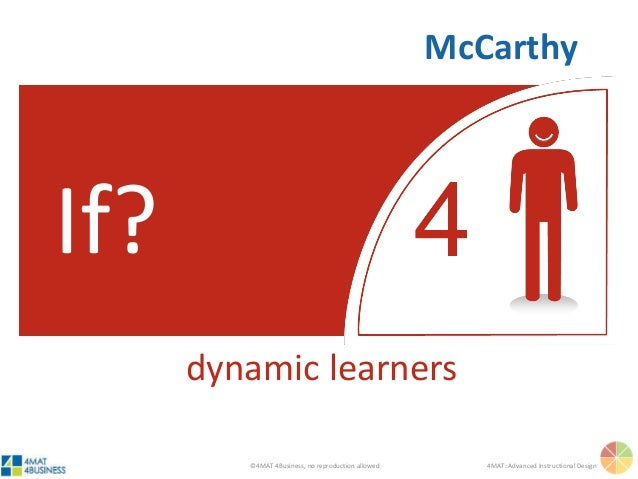 ©4MAT 4Business, no reproduction allowed 4MAT: Advanced Instructional Design If? dynamic learners McCarthy