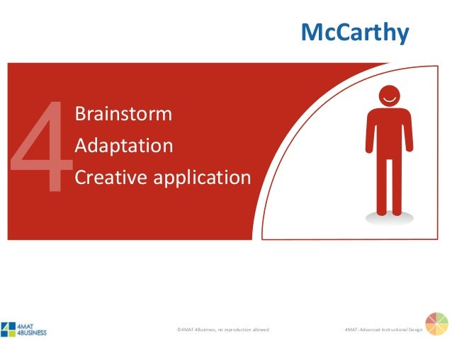 ©4MAT 4Business, no reproduction allowed 4MAT: Advanced Instructional Design Brainstorm Adaptation Creative application Mc...
