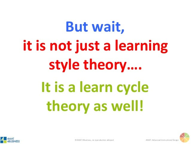 ©4MAT 4Business, no reproduction allowed 4MAT: Advanced Instructional Design But wait, it is not just a learning style the...