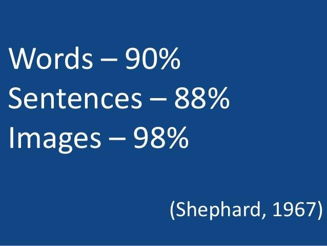 Words – 90% Sentences – 88% Images – 98% (Shephard, 1967)