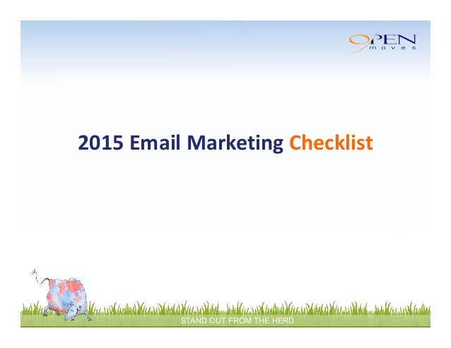 STAND OUT FROM THE HERD 2015EmailMarketingChecklist