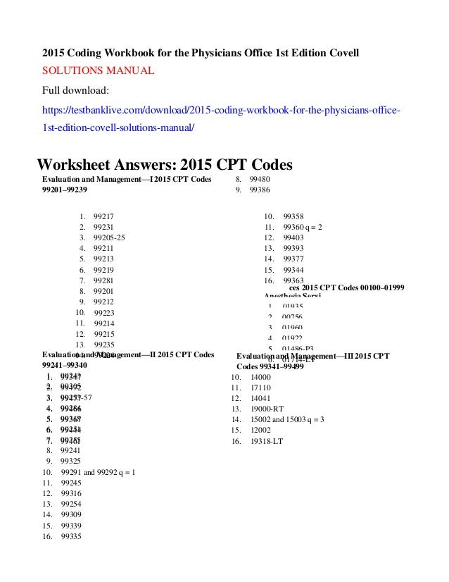 2015 coding workbook for the physicians office 1st edition covell sol rh slideshare net CPT Manual Book The Sections of CPT Manual