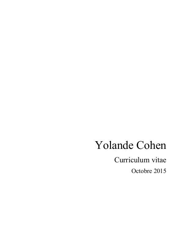 Yolande Cohen Curriculum vitae Octobre 2015
