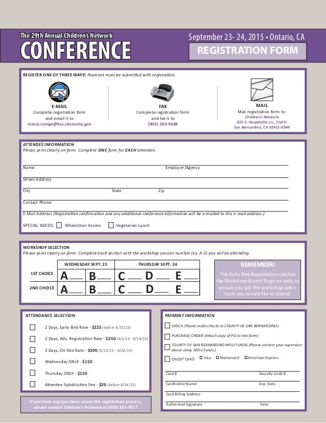 sample workshop registration form template - the 29th annual children 39 s network conference