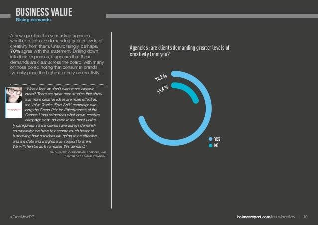 holmesreport.com/focus/creativity 10#CreativityInPR Business valueRising demands A new question this year asked agencies...