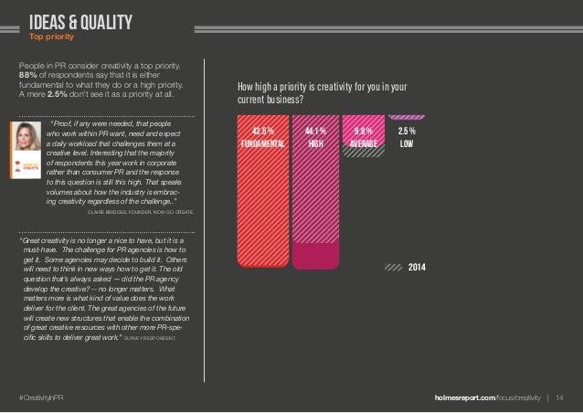 holmesreport.com/focus/creativity 14#CreativityInPR ideas & qualityTop priority People in PR consider creativity a top p...