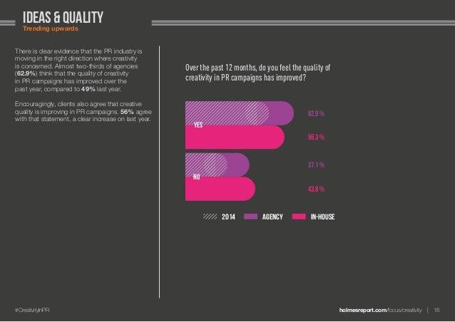 holmesreport.com/focus/creativity 16#CreativityInPR ideas & qualityTrending upwards There is clear evidence that the PR ...