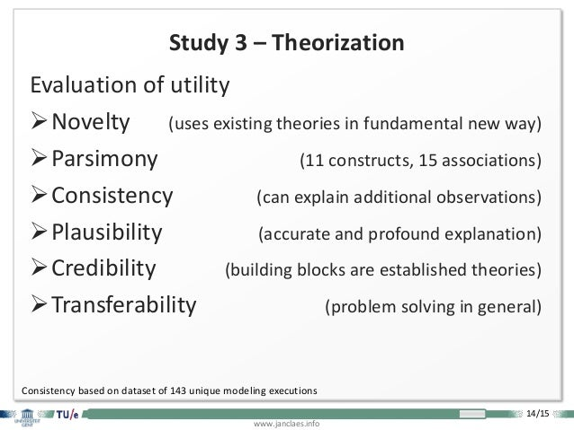 14/15 www.janclaes.info Study 3 – Theorization Evaluation of utility Novelty (uses existing theories in fundamental new w...