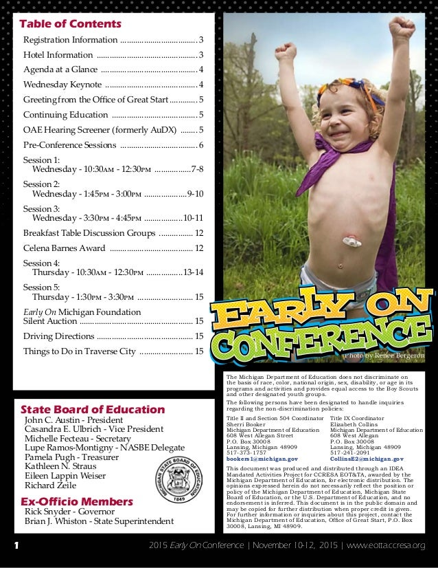 2015 Early On Conference   November 10-12, 2015   www.eotta.ccresa.org Table of Contents Registration Information ...........