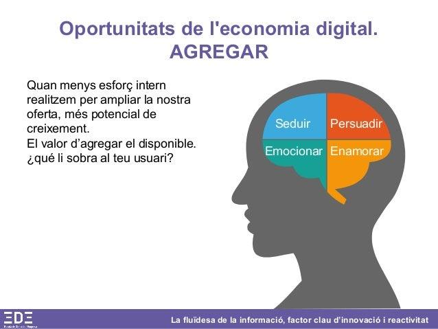 La fluïdesa de la informació, factor clau d'innovació i reactivitat Oportunitats de l'economia digital. AGREGAR Quan menys...