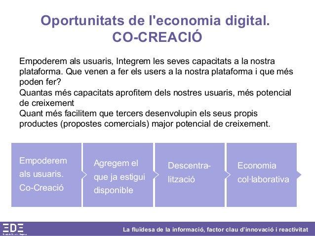 La fluïdesa de la informació, factor clau d'innovació i reactivitat Oportunitats de l'economia digital. CO-CREACIÓ Empoder...