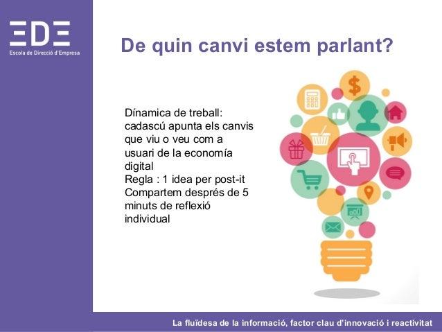 La fluïdesa de la informació, factor clau d'innovació i reactivitat De quin canvi estem parlant? Dínamica de treball: cada...