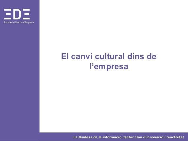 La fluïdesa de la informació, factor clau d'innovació i reactivitat El canvi cultural dins de l'empresa