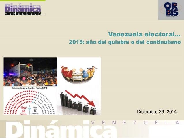 Venezuela electoral… 2015: año del quiebre o del continuismo Diciembre 29, 2014