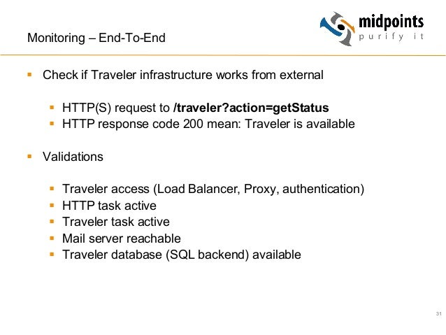 31 Monitoring – End-To-End § Check if Traveler infrastructure works from external § HTTP(S) request to /traveler?actio...