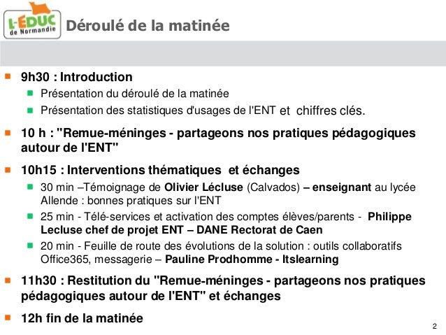 Synthèse des clubs utilisateurs ENT l'Educ de Normandie - 2015 Slide 2