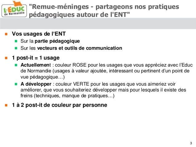 Synthèse des clubs utilisateurs ENT l'Educ de Normandie - 2015 Slide 3