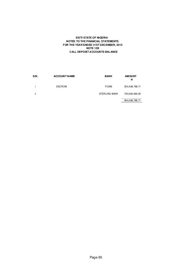 Ekiti State Financial Report for the year 2015