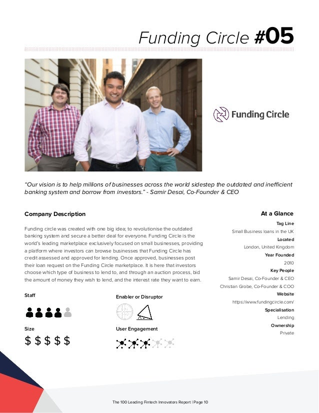 Staff Size $ $ $ $ $ Enabler or Disruptor User Engagement The 100 Leading Fintech Innovators Report | Page 10 Company Desc...