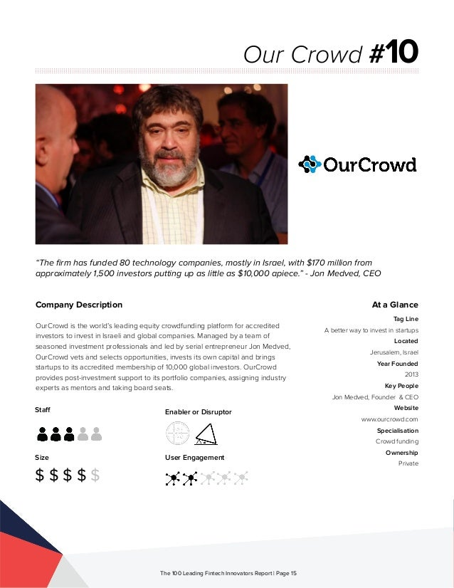 Staff Size $ $ $ $ $ Enabler or Disruptor User Engagement The 100 Leading Fintech Innovators Report | Page 15 Company Desc...