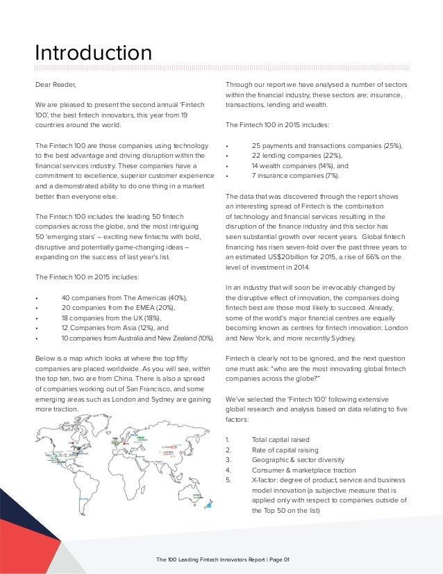 The 100 Leading Global Fintech Innovators 2015  Slide 2
