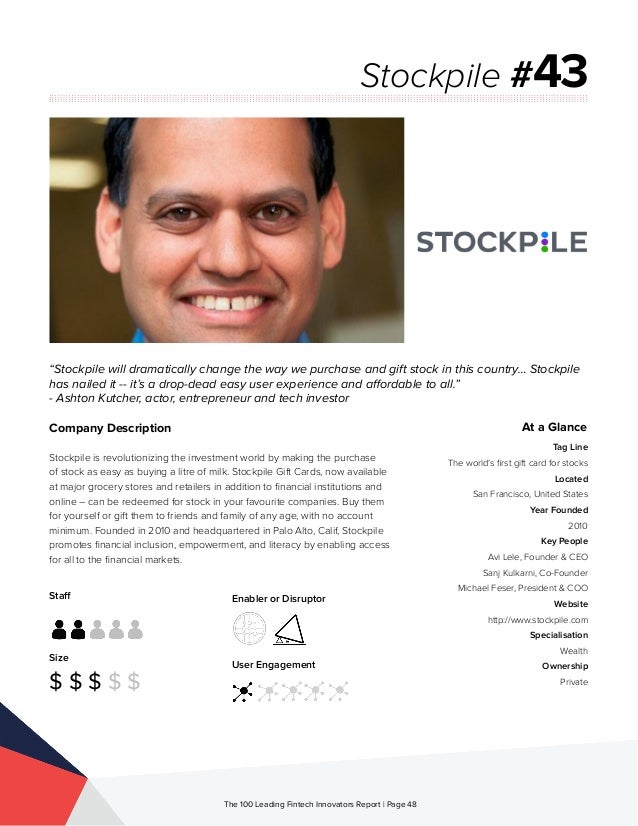 Staff Size $ $ $ $ $ Enabler or Disruptor User Engagement The 100 Leading Fintech Innovators Report | Page 48 Company Desc...