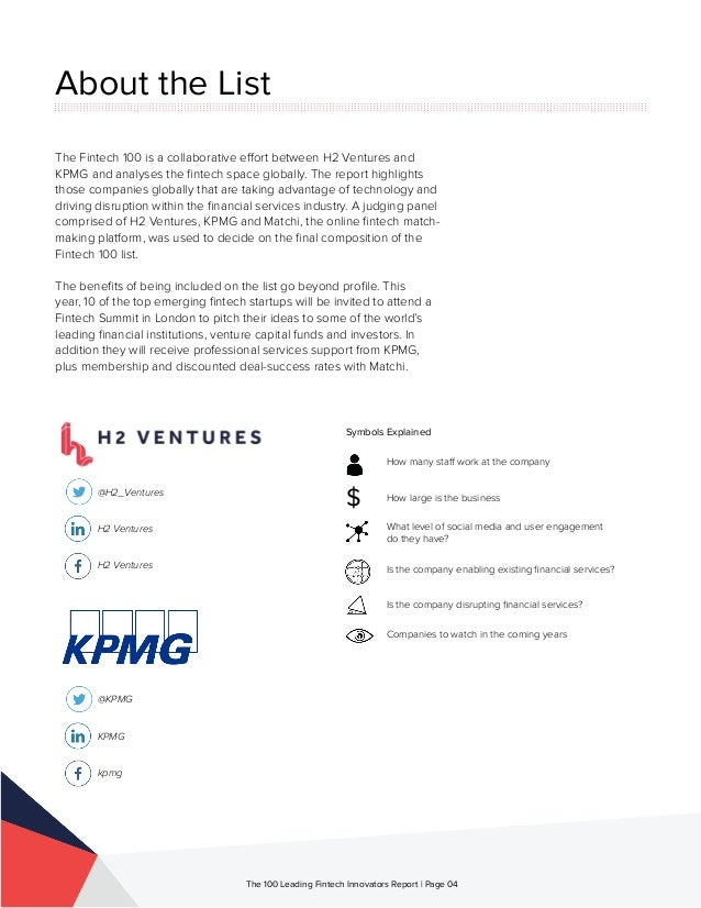 About the List The Fintech 100 is a collaborative effort between H2 Ventures and KPMG and analyses the fintech space globa...