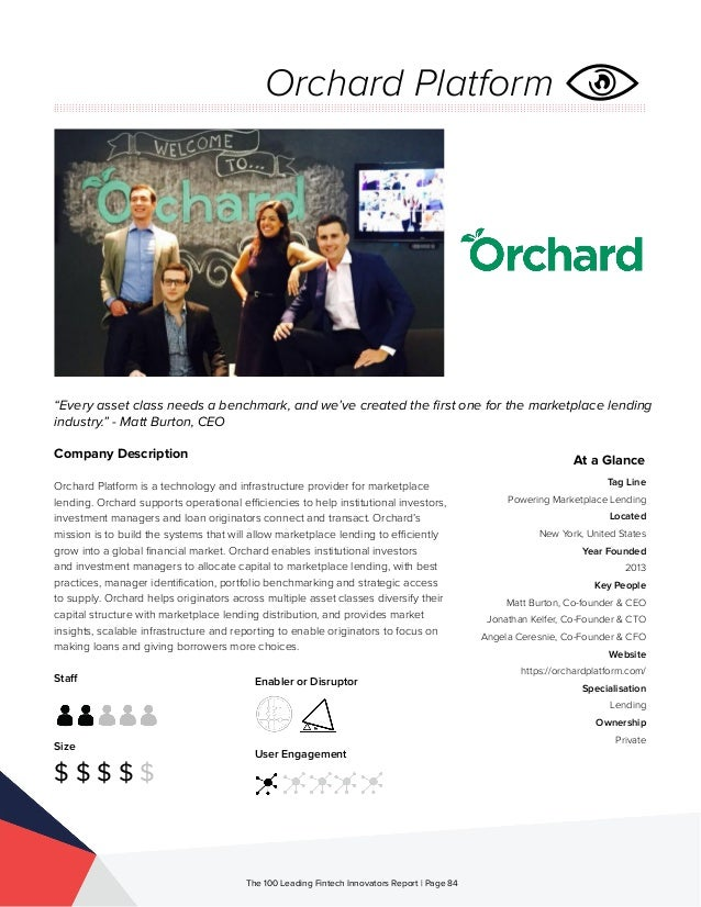 Staff Size $ $ $ $ $ Enabler or Disruptor User Engagement The 100 Leading Fintech Innovators Report | Page 84 Company Desc...