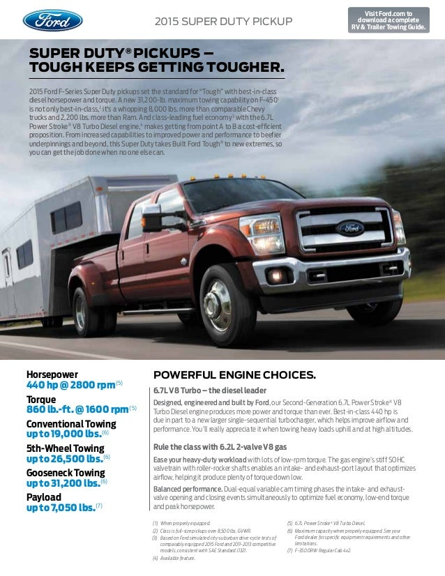 2015 Ford Super Duty Truck Towing Capacity Information At El