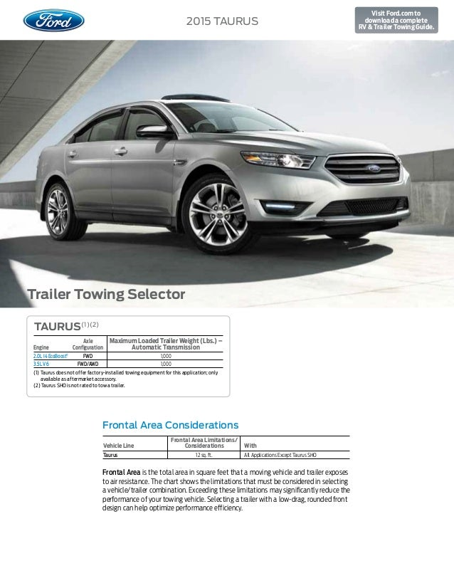 Towing Capacity >> 2015 Ford Taurus Towing Capacity Information At El Paso