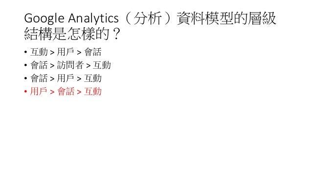 Google Analytics(分析)資料模型的層級 結構是怎樣的? • 互動 > 用戶 > 會話 • 會話 > 訪問者 > 互動 • 會話 > 用戶 > 互動 • 用戶 > 會話 > 互動