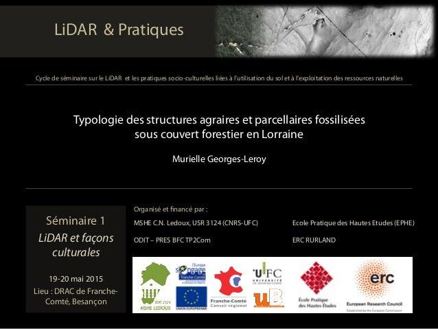 Séminaire 1 LiDAR et façons culturales 19-20 mai 2015 Lieu : DRAC de Franche- Comté, Besançon Typologie des structures ag...