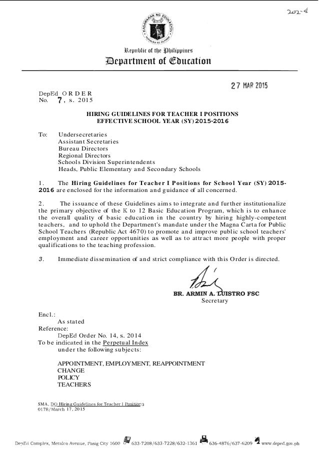 2015 hiring guidelines for teacher 1 position in the department of ed