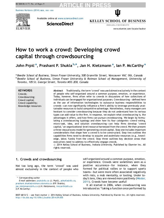 BUSHOR-1177; No. of Pages 9  How to work a crowd: Developing crowd  capital through crowdsourcing  John Prpic´a, Prashant ...